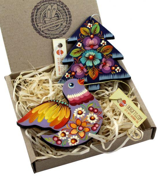 Корпоративный подарок - набор елочных игрушек с Петриковской росписью