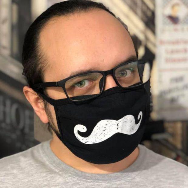 """Стильная маска для лица """"Усы"""" (хлопок)"""