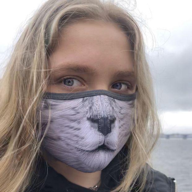 """Дизайнерская защитная маска для лица  """"Киса"""""""