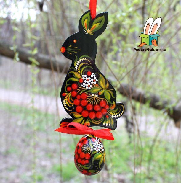 """Пасхальный декор """" Кролик с пасхальным яйцом"""" подвеска"""