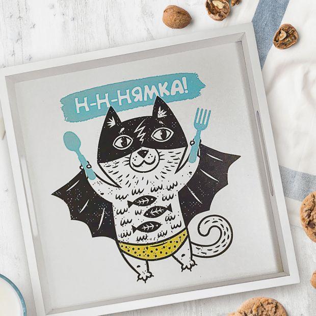 """Поднос для завтрака """"Нямка"""" (кот супергерой)"""