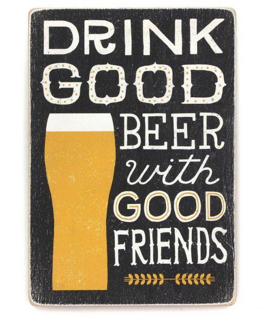 """Постер деревянный """"Хорошее пиво только с друзьями!"""""""