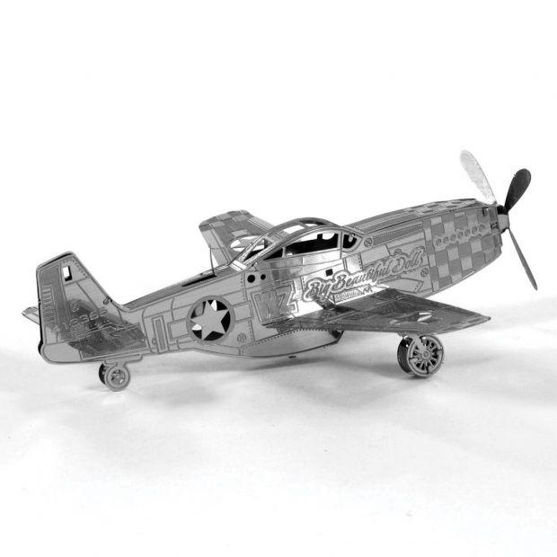 Mustang P-51 - 3D модель для сборки, металлический конструктор-пазл