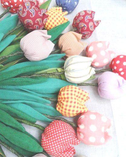 Текстильные тюльпаны ручной работы, 5 шт