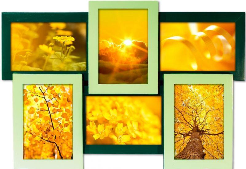 "Мультирамка для фотографий ""Оттенки зеленого. Коллаж 6 фото"""