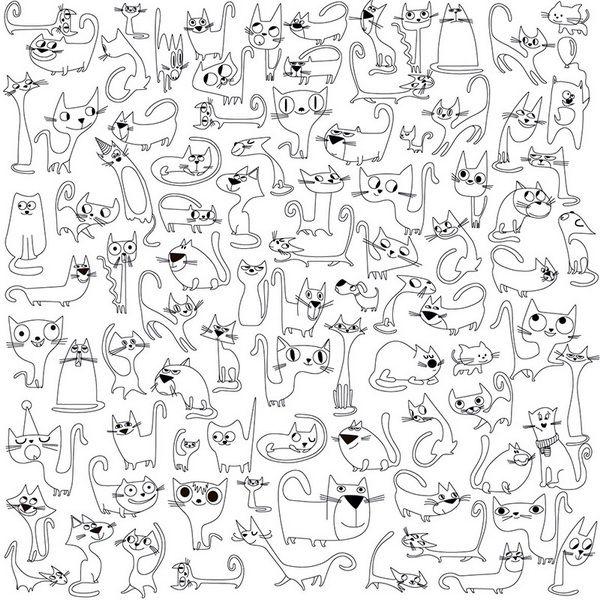 """Раскраска-антистресс """"Весёлые коты"""" 60х60см"""