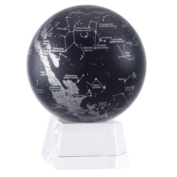 Самовращающийся глобус MOVA GLOBE Silver/Black Constellations Созвездия, 12 см