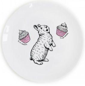 """Тарілка """"Кролик-ласун""""  (То тут капкейк, то там капкейк!)"""
