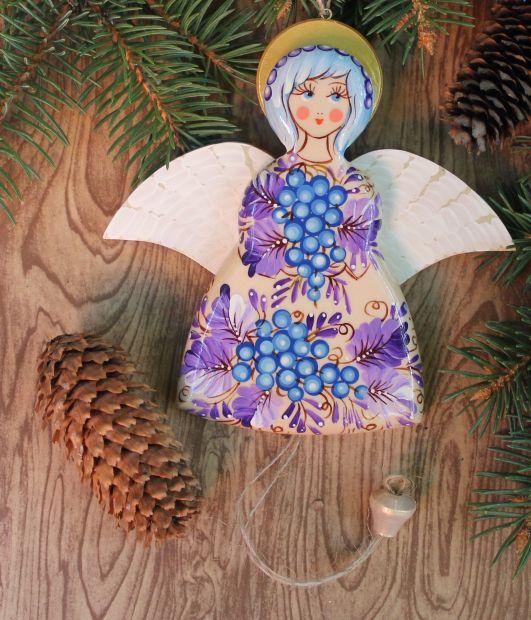 """Механическая игрушка-сувенир с Петриковской росписью """"Ангел"""", голубая гроздь"""