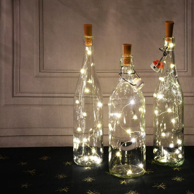 Пробка с LED гирляндой 1,5 м, подсветка для бутылки на батарейках