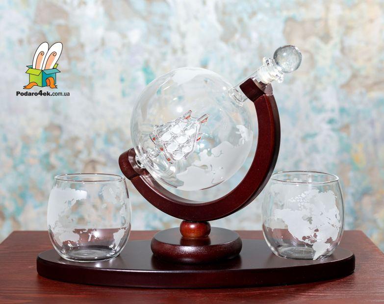 """Набор декантер + стаканы + охлаждающие камни """"Вокруг света"""""""