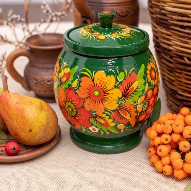 Сахарница, емкость для сыпучих с Петриковской росписью в зеленом цвете