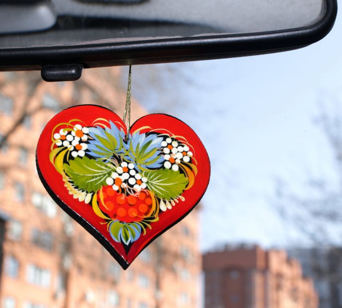 "Подвеска сердце в авто ""Цветок любви"""