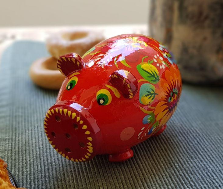 Свинка-солонка с Петриковской росписью (03), разные цвета