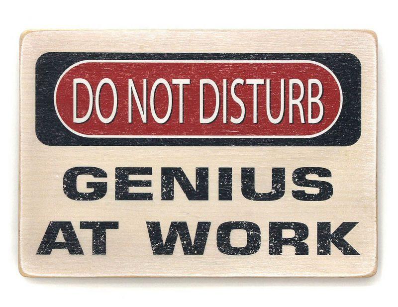 """Постер деревянный """"Не беспокоить! Работает гений!"""""""