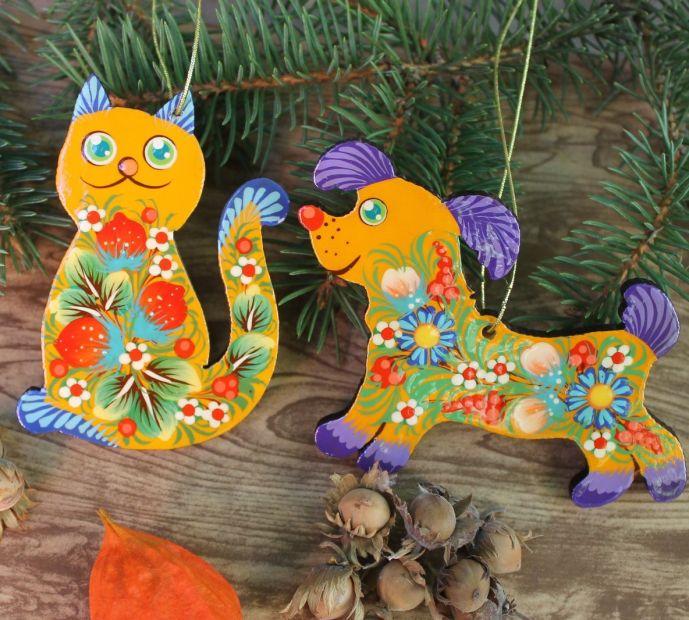 """Подарок на Новый год - набор елочных грушек ручной работы """"Кот и пес"""""""